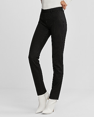 Express Womens Mid Rise Straight Leg Pinstripe Ponte Pant