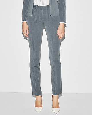 Mid Rise Double Herringbone Straight Columnist Pant