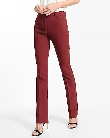 burgundy low rise barely boot editor pant