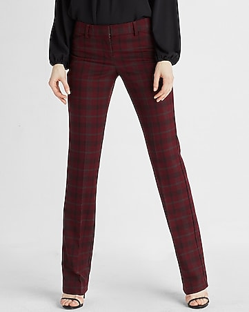 low rise plaid barely boot editor pant