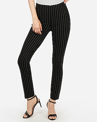 Express Womens High Waisted Striped Pull-On Skinny Pant Black And White Women's L Black And White L