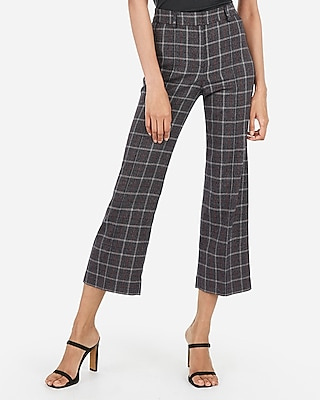 Express Womens High Waisted Straight Cropped Plaid Pants