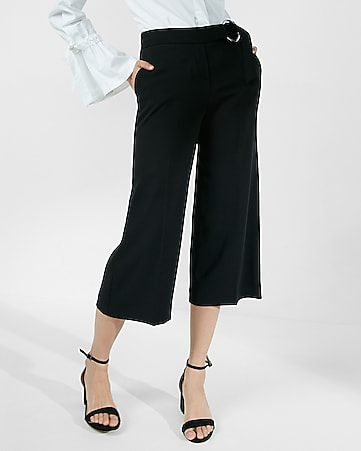 mid rise d-ring belted culottes
