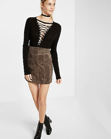 super high waisted genuine suede mini skirt