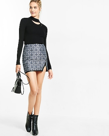 high waisted geo jacquard asymmetircal mini skirt