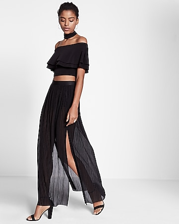 high waisted pleated maxi skirt
