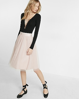 Express Womens High Waisted Tulle Midi Skirt Pink Small