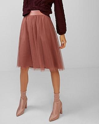 Express Womens High Waisted Tulle Midi Skirt