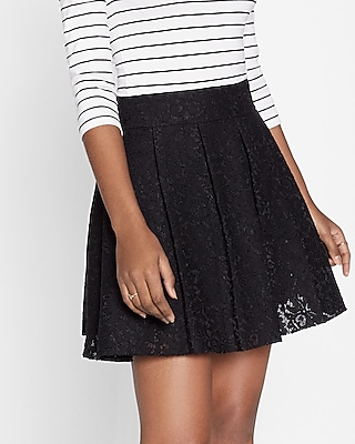 Express Womens High Waisted Lace Pleated Full Skirt Black 14