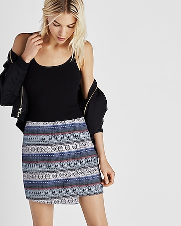 asymmetrical jacquard wrap front mini skirt