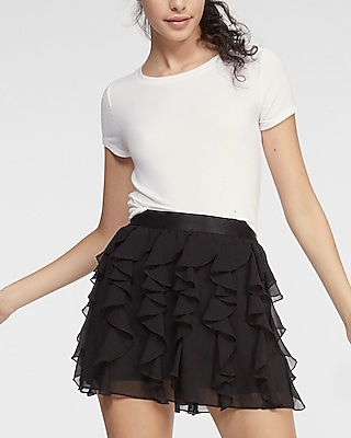 Express Womens High Waisted Ruffle Mini Skirt