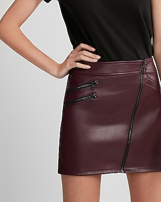Express Womens Express Womens  (Minus The) Leather Asymmetrical Moto Skirt