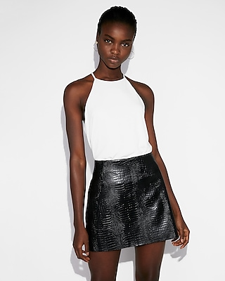 Express Womens High Waisted Faux Leather Snake Mini Skirt