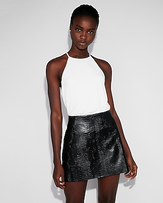 Express Womens Petite High Waisted Faux Leather Snake Mini Skirt