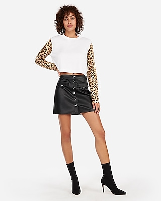 Express Womens High Waisted Faux Leather Snap Front Mini Skirt