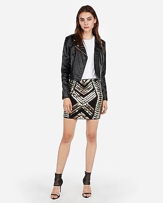 Express Womens High Waisted Sequin Mini Skirt