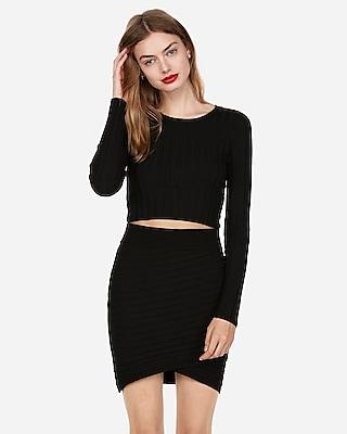 Express Womens Wide Rib Wrap Sweater Mini Skirt