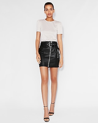 Express Womens High Waisted Faux Leather Belted Mini Skirt