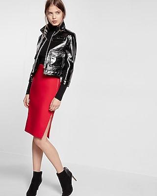 Express Womens Petite Side Zipper Midi Pencil Skirt