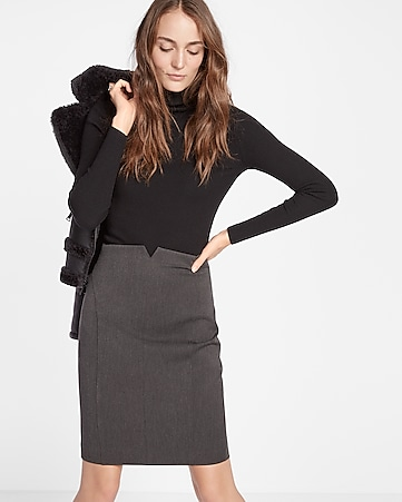 petite high waisted notch front pencil skirt