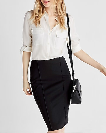 high waisted seamed midi pencil skirt