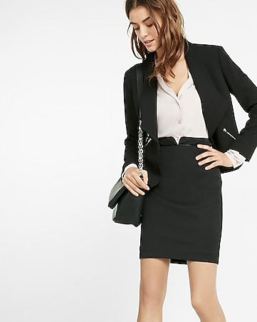 high waisted piped pencil skirt