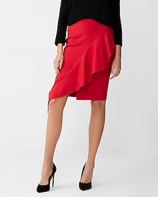 Express Womens Asymmetrical Ruffle Front Pencil Skirt