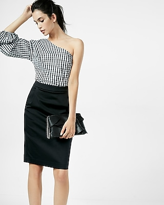 Express Womens Pleated Pocket Pencil Skirt