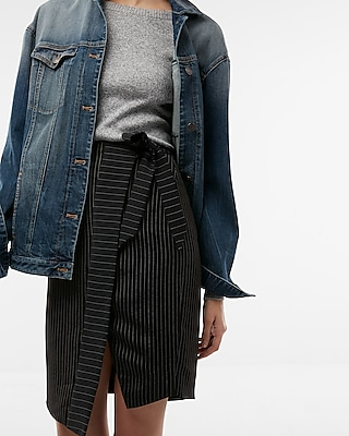 Express Womens High Waisted Ticking Stripe Wrap Pencil Skirt