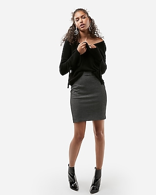 Express Womens High Waisted Crosshatch Seamed Pencil Skirt