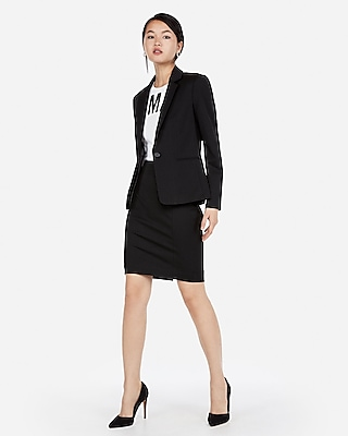 Express Womens Petite High Waisted Seamed Pencil Skirt