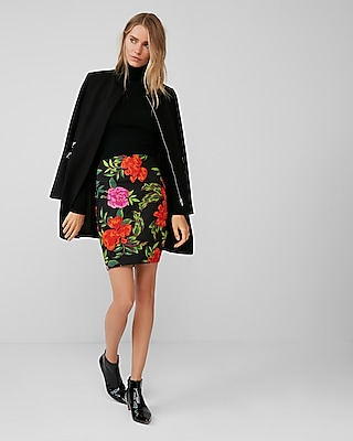 Express Womens High Waisted Floral Pencil Skirt