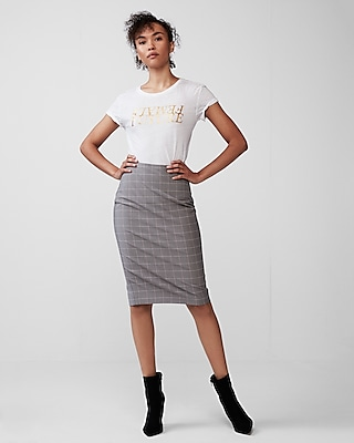 Express Womens High Waisted Windowpane Pencil Skirt