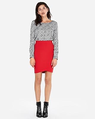Express Womens High Waisted Wrap Hem Pencil Skirt