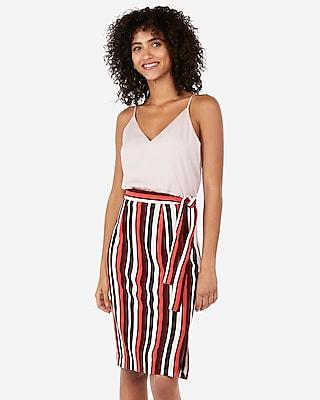 Express Womens High Waisted Striped Side Tie Sweater Pencil Skirt Stripe Women's 00 Stripe 00