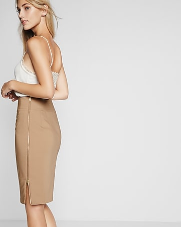 high waisted side zipper midi pencil skirt