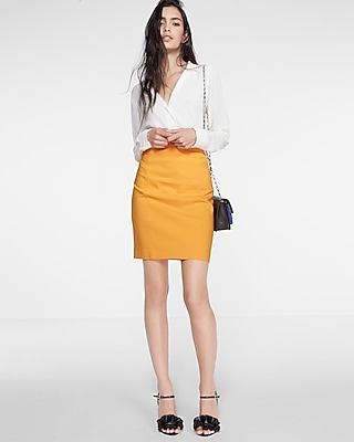 Express Womens High Waisted Pintucked Pencil Skirt