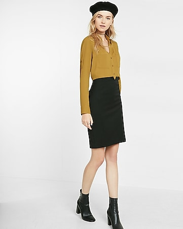 high waisted notch front pencil skirt