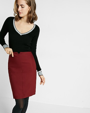 notch front pencil skirt