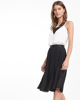Express Womens Petite High Waisted Pleated Midi Skirt Black L Petite