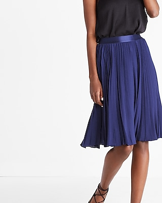 Express Womens High Waisted Pleated Midi Skirt Blue XX Small