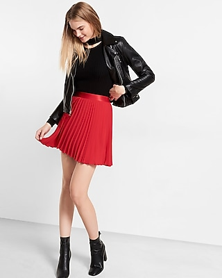 Express Womens High Waisted Pleated Mini Skirt