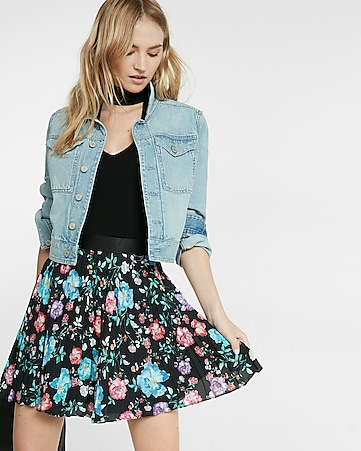 high waisted floral print pleated mini skirt