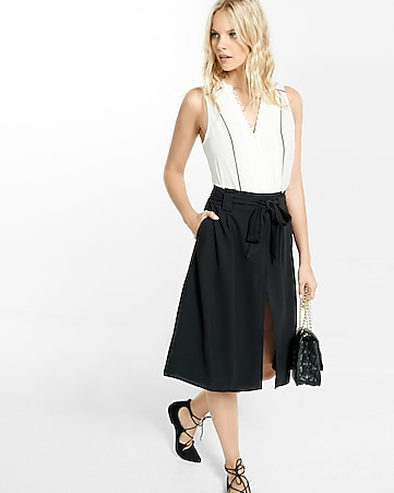 paper bag waisted midi skirt