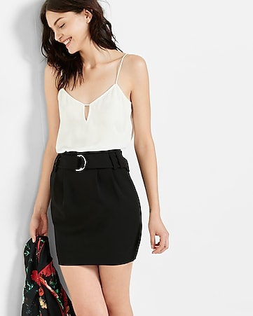 paper bag waist mini skirt
