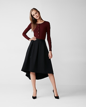 black hi lo midi skirt