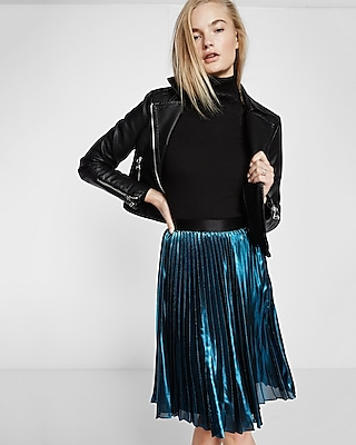 Express Womens Metallic Pleated Midi Skirt