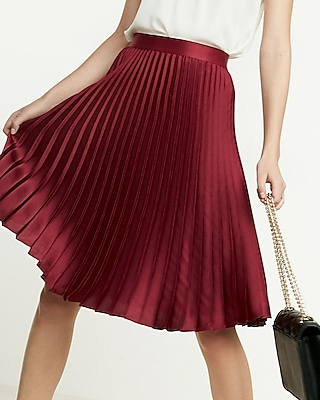 High Waisted Satin Pleated Midi Skirt