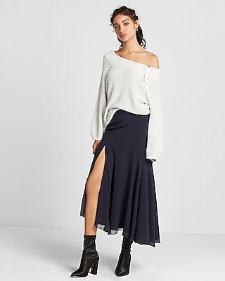 High Waisted Ruffle Midi Skirt