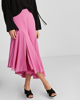 Express Womens High Waisted Ruffle Midi Skirt